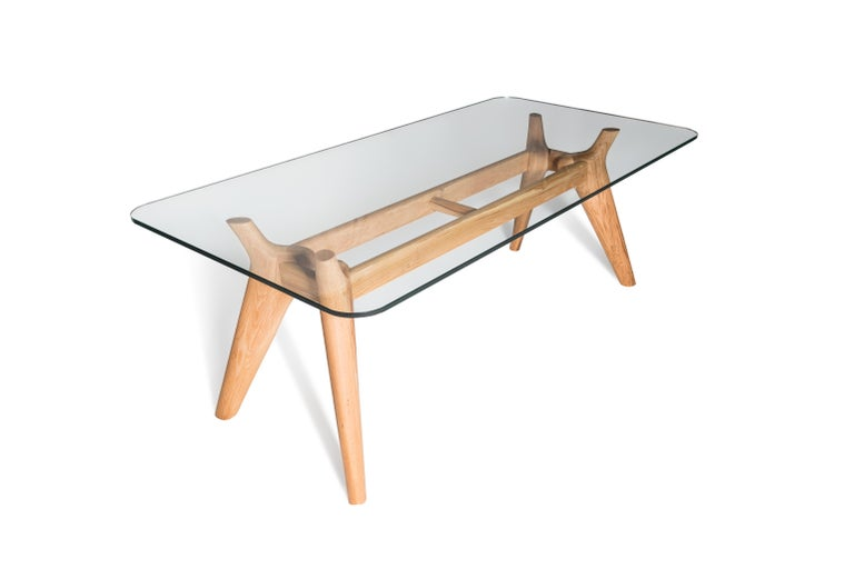 Modern Rangnan Dining Table Medium, Solid Wood, Glass Topped, Designed by Nigel Coates For Sale