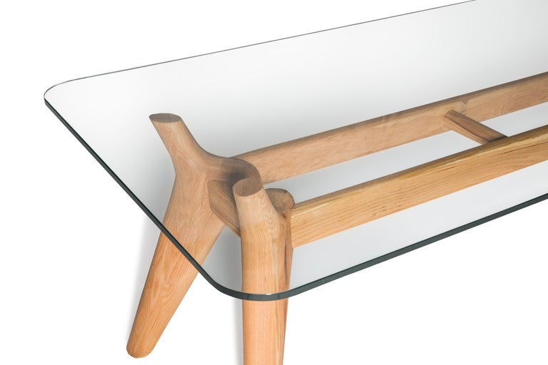 European Rangnan Dining Table Medium, Solid Wood, Glass Topped, Designed by Nigel Coates For Sale