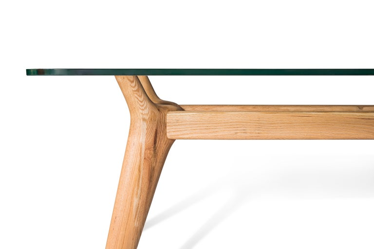 Hand-Crafted Rangnan Dining Table Medium, Solid Wood, Glass Topped, Designed by Nigel Coates For Sale