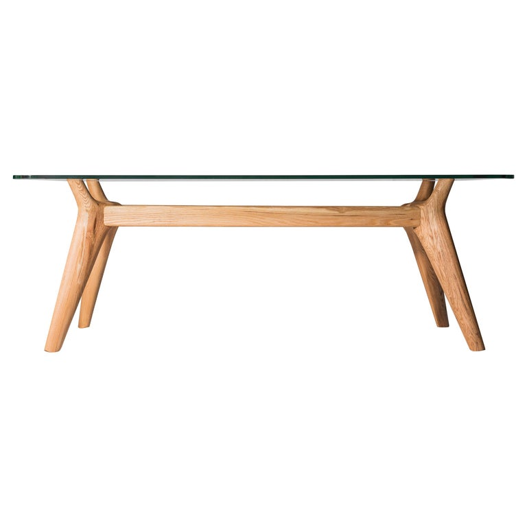 Rangnan Dining Table Medium, Solid Wood, Glass Topped, Designed by Nigel Coates For Sale