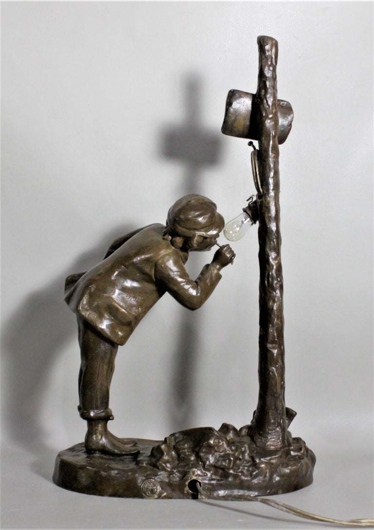 Ranieri Signed Antique French Cast Metal Figural Table Lamp For Sale 4