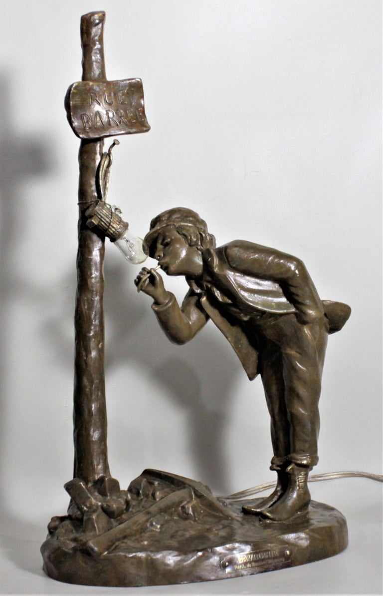 Victorian Ranieri Signed Antique French Cast Metal Figural Table Lamp For Sale
