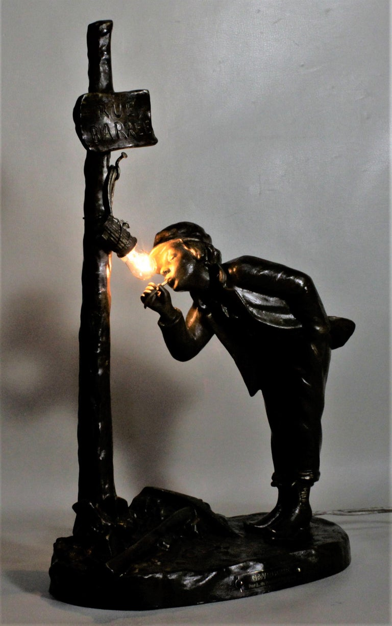 19th Century Ranieri Signed Antique French Cast Metal Figural Table Lamp For Sale