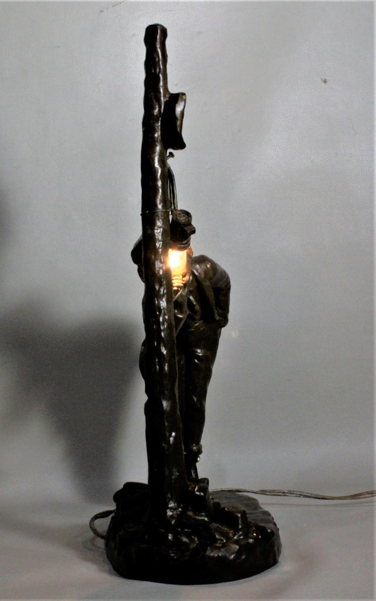 Ranieri Signed Antique French Cast Metal Figural Table Lamp For Sale 1