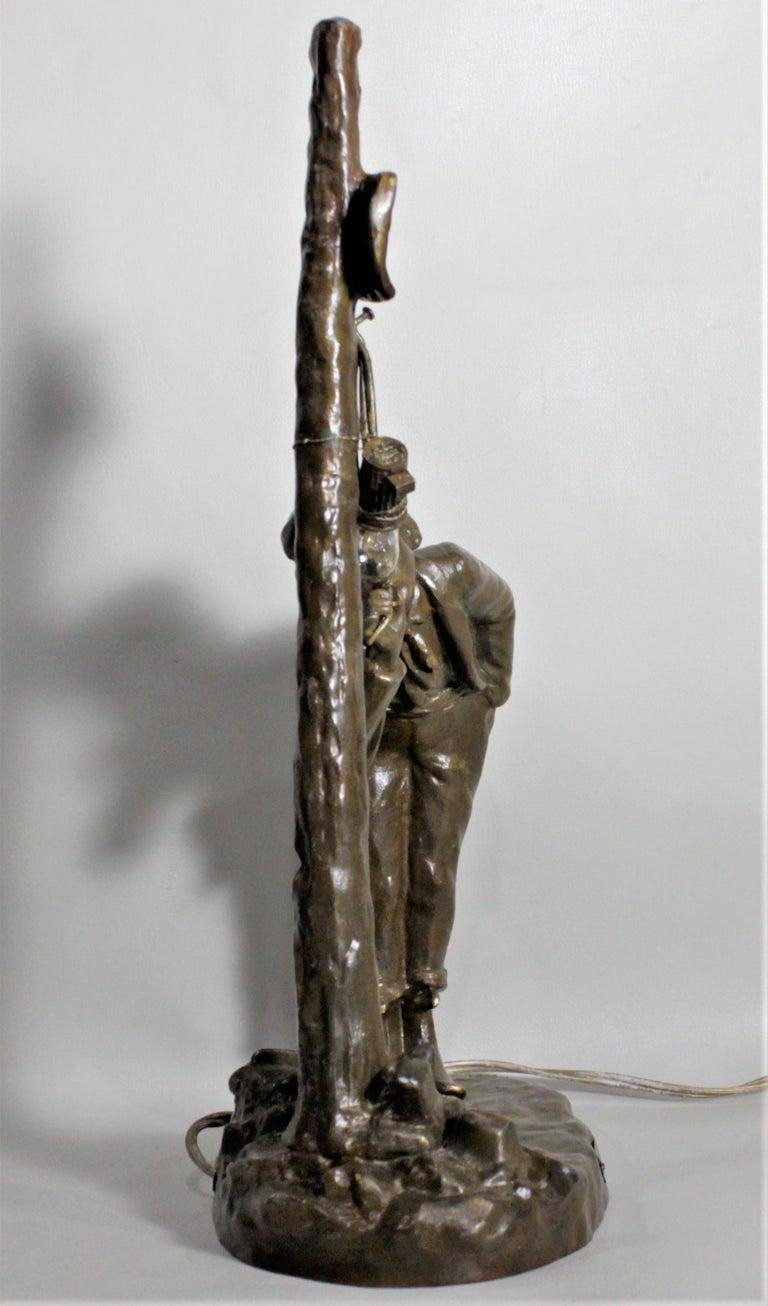 Ranieri Signed Antique French Cast Metal Figural Table Lamp For Sale 2