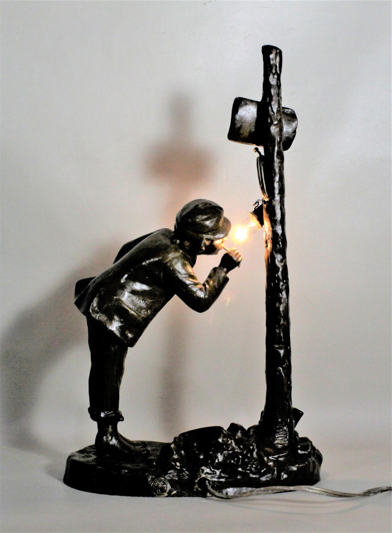 Ranieri Signed Antique French Cast Metal Figural Table Lamp For Sale 3