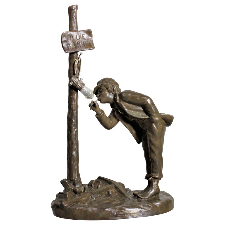 Ranieri Signed Antique French Cast Metal Figural Table Lamp For Sale