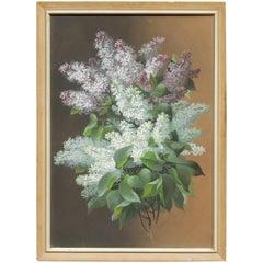 Raoul De Longpre Floral Gouache, circa 1880-1900, Lilacs