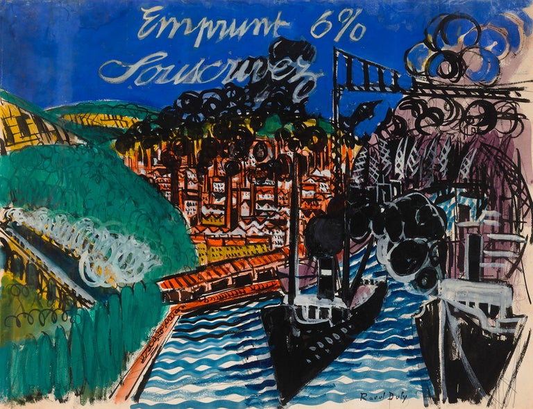 """Emprunt 6% Souscrivez (War Loan 6% Subscribe)  Signed """"Raoul Dufy"""" (lower right) Gouache on paper  This vibrant gouache on paper by the renowned Raoul Dufy is not only a work of exceptional artistry, but also represents an important period in world"""