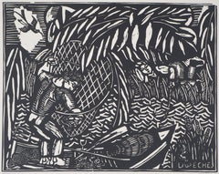 The Angling - Original woodcut - Signed