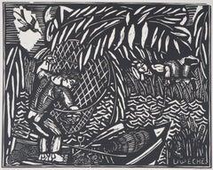 The Fisherman (Angling) - Original woodcut - Signed