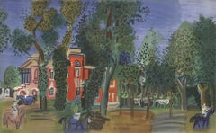 1960 Raoul Dufy 'Paddock-Deauville' Impressionism Multicolor,Green France