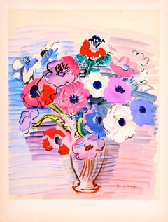Anémones (colorful bouquet of flowers) by Raoul Dufy - original lithograph