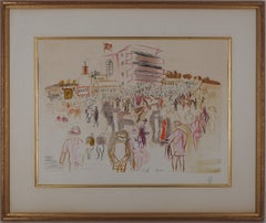 Epsom : The Hippodome before the Race - Original lithograph # Ltd 50 copies