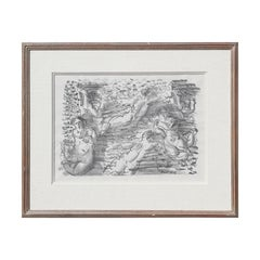 """""""Figures in the Sea"""" Abstract Figurative Nude Bathers Lithograph Print"""