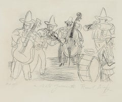 Les Musiciens Mexicains - Original Etching by Raoul Dufy - 1952