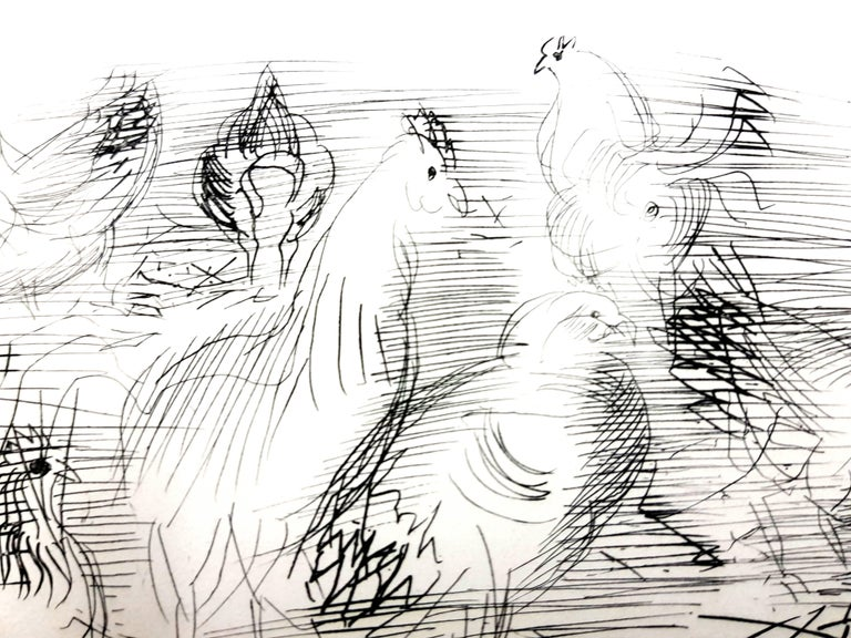 Raoul Dufy - Chickens - Original Etching For Sale 1