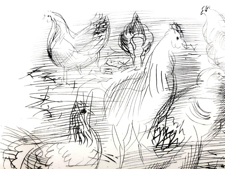 Raoul Dufy - Chickens - Original Etching For Sale 2