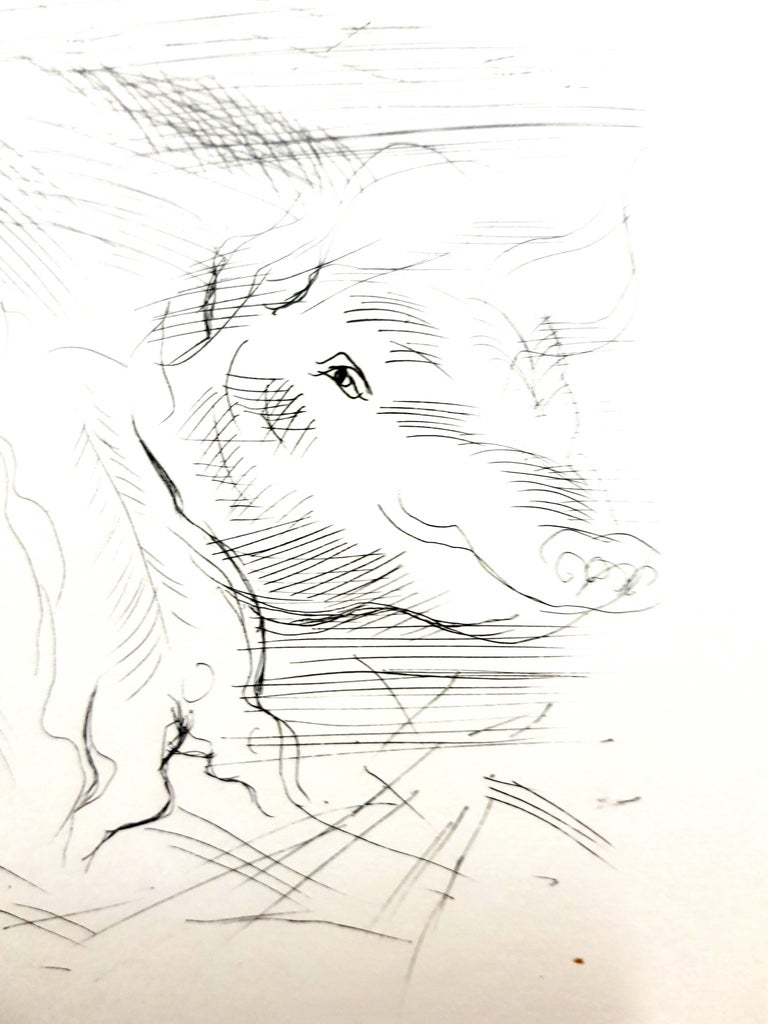 Raoul Dufy - Farm Pigs - Original Etching For Sale 1