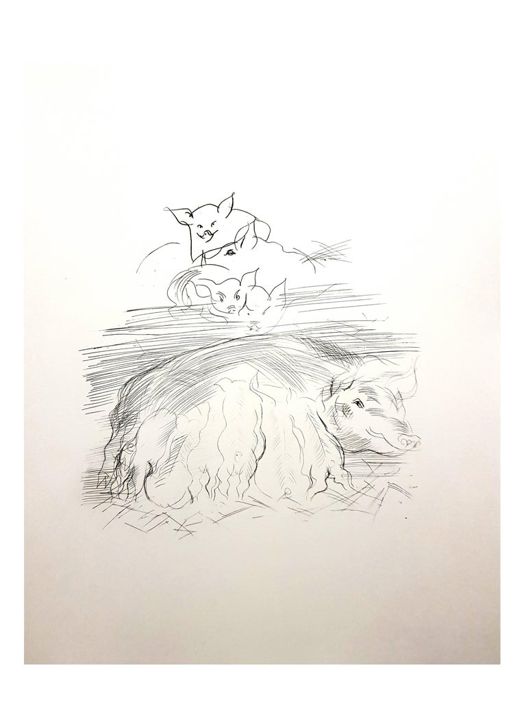 Raoul Dufy - Farm Pigs - Original Etching For Sale 2