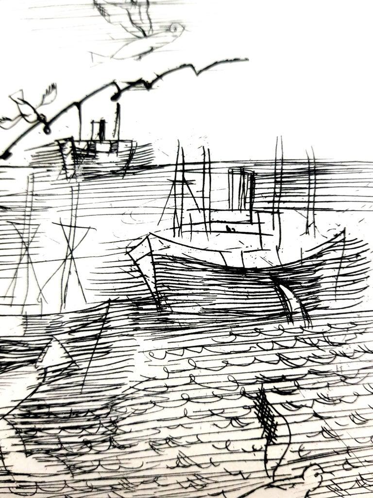 Raoul Dufy - Freedom - Original Etching - Gray Portrait Print by Raoul Dufy