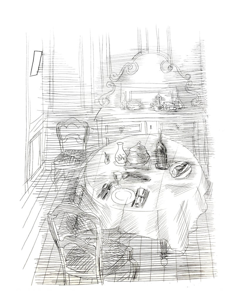 Raoul Dufy - French Dinner - Original Etching - Print by Raoul Dufy