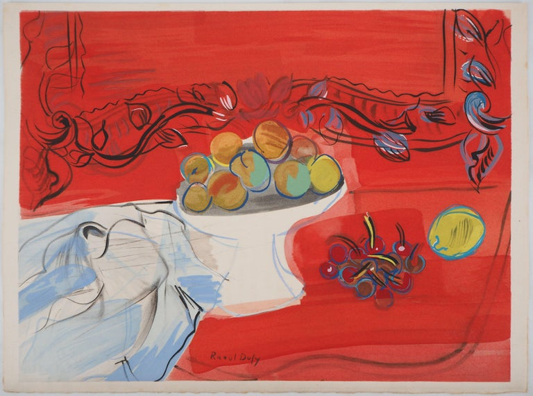 Still-Life with Fruits - Original Lithograph - Print by Raoul Dufy