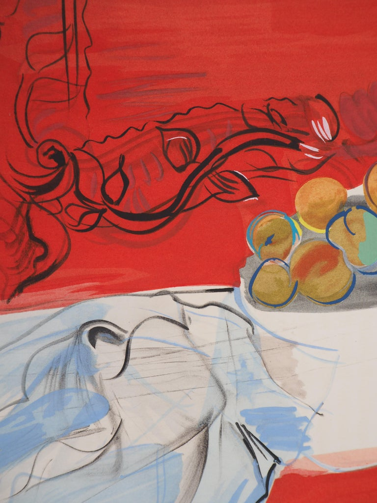 Still-Life with Fruits - Original Lithograph - Red Still-Life Print by Raoul Dufy