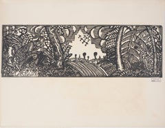 The Hunt - Original woodcut - Signed