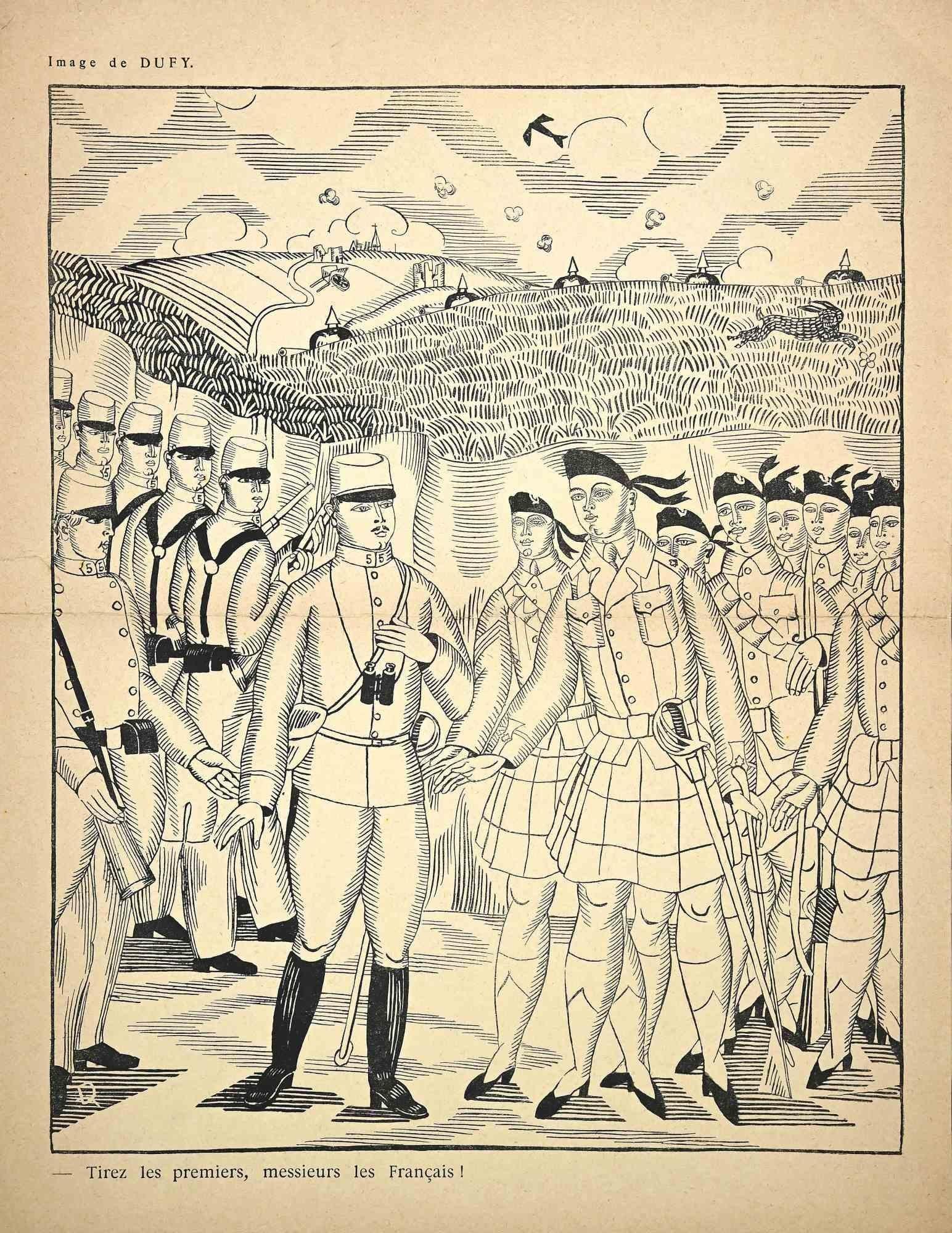 Tirez les Premiers - Original Woodcut Print by Raoul Dufy - Early 20th Century