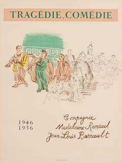 Tragedie, Comédie jean-Louis Barrault, Madeleine Renaud-by Raoul Dufy, 1954-1956