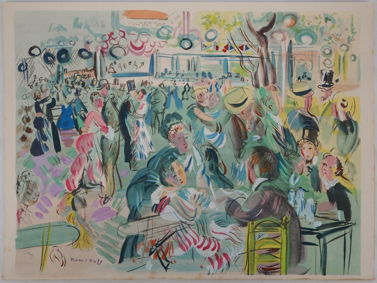 Tribute to Renoir : Dancing Cafe - Original Lithograph - Print by Raoul Dufy