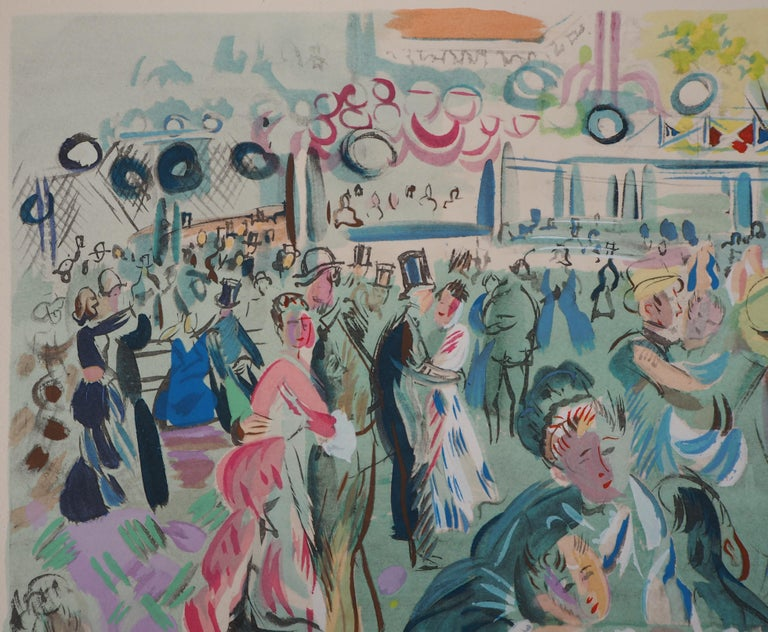 Tribute to Renoir : Dancing Cafe - Original Lithograph - Gray Figurative Print by Raoul Dufy