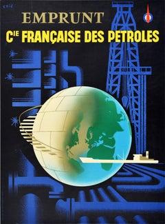 Original Vintage Poster Francaise Des Petroles French Petrol Bond Oil Gas CFP