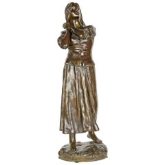 Raoul Fançois Larche Patinated Bronze Figure of a woman