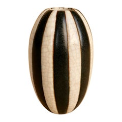Raoul Lachenal, Black and White Striped Porcelain Bud Vase, circa 1930