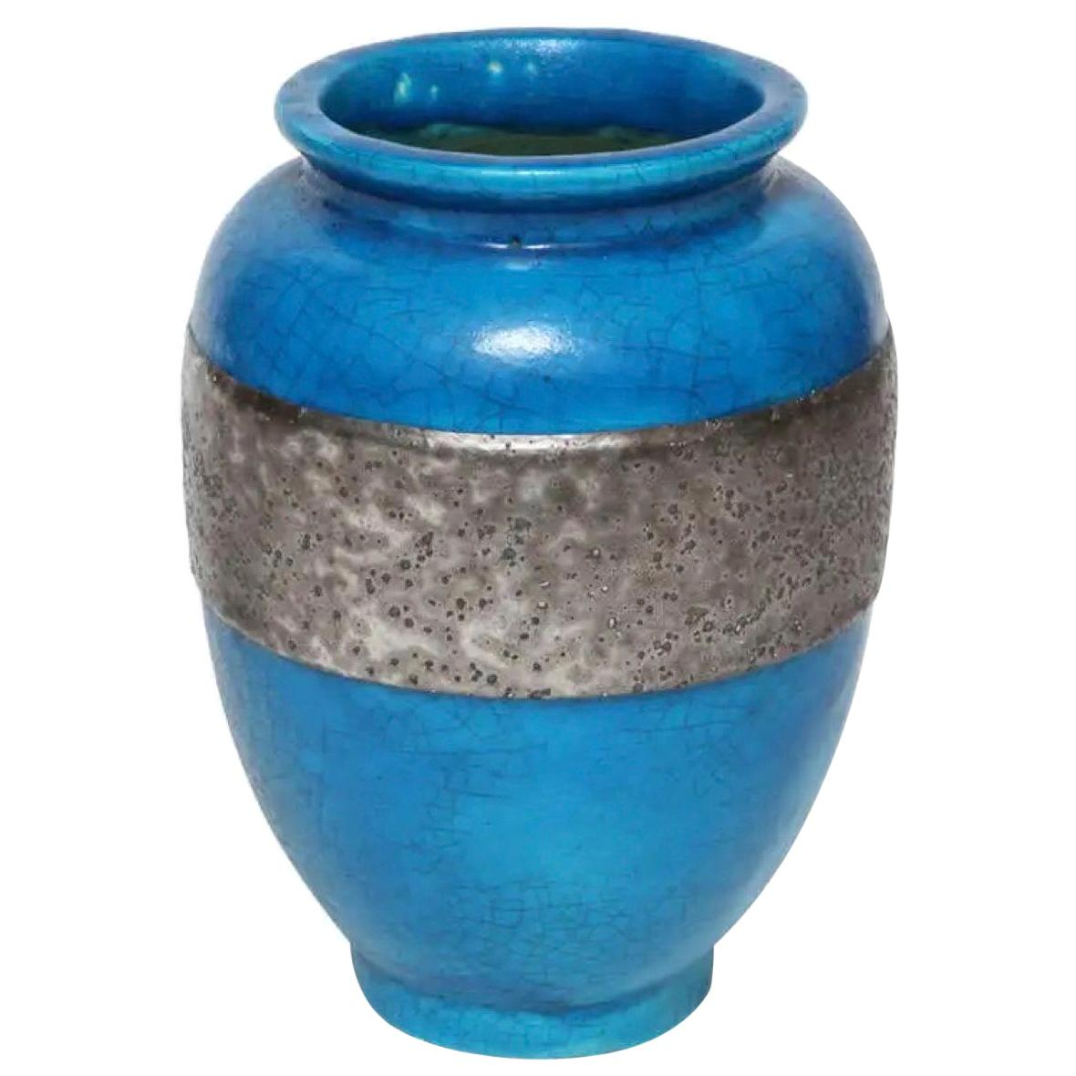 Raoul Lachenal Blue Crackle Glaze Ceramic Vase with Band, circa 1930s - 1940s