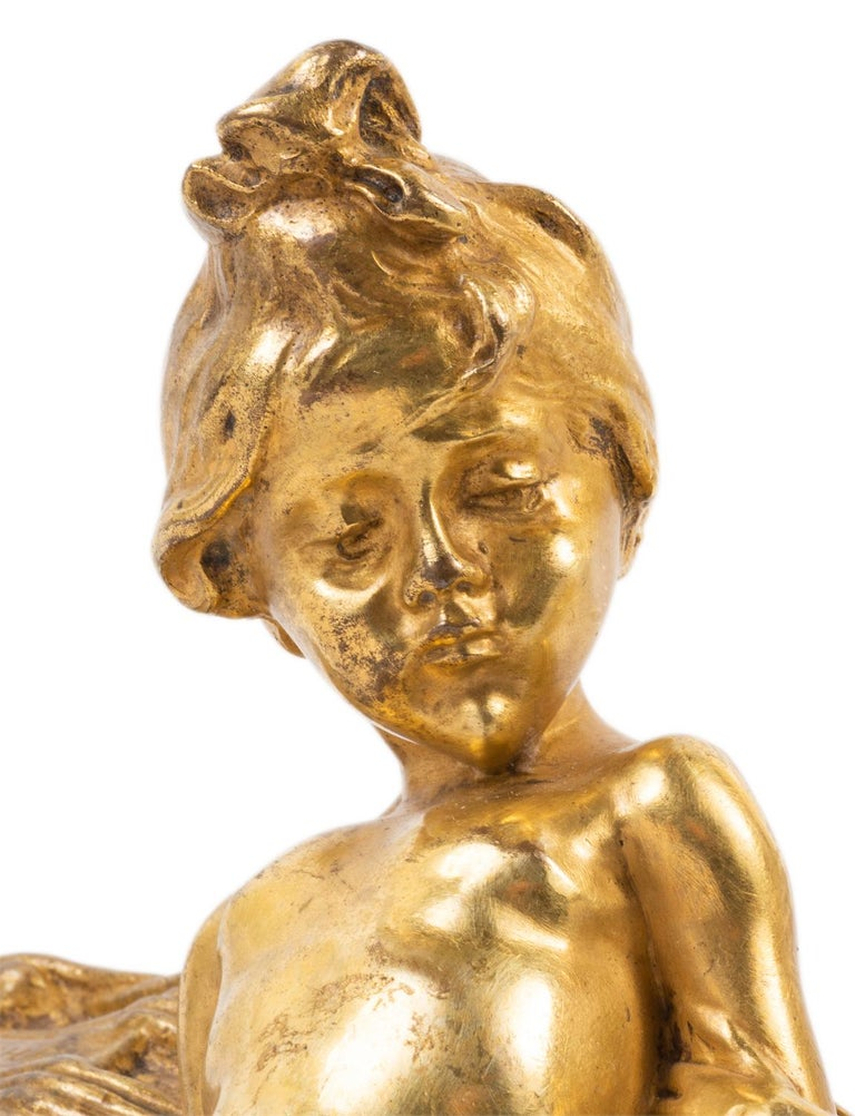 Art Nouveau Raoul Larche, Gilded Ormolu Group of Two Children Playing For Sale