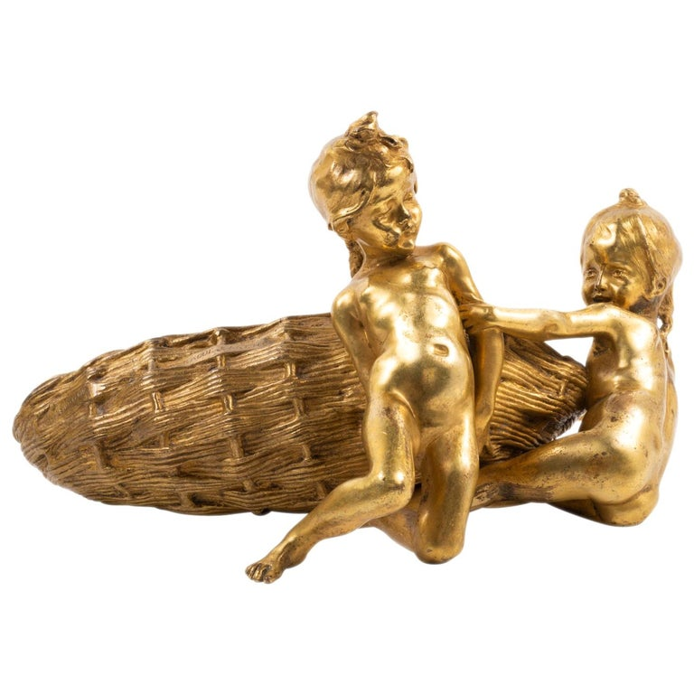 Raoul Larche, Gilded Ormolu Group of Two Children Playing For Sale