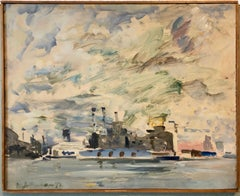 1972 Gestural Oil Painting Boat in Harbor Figural Abstraction Raoul Middleman