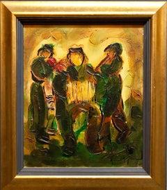 Jewish Klezmer Musicians, Israeli Judaica Impasto Palette Knife Oil Painting