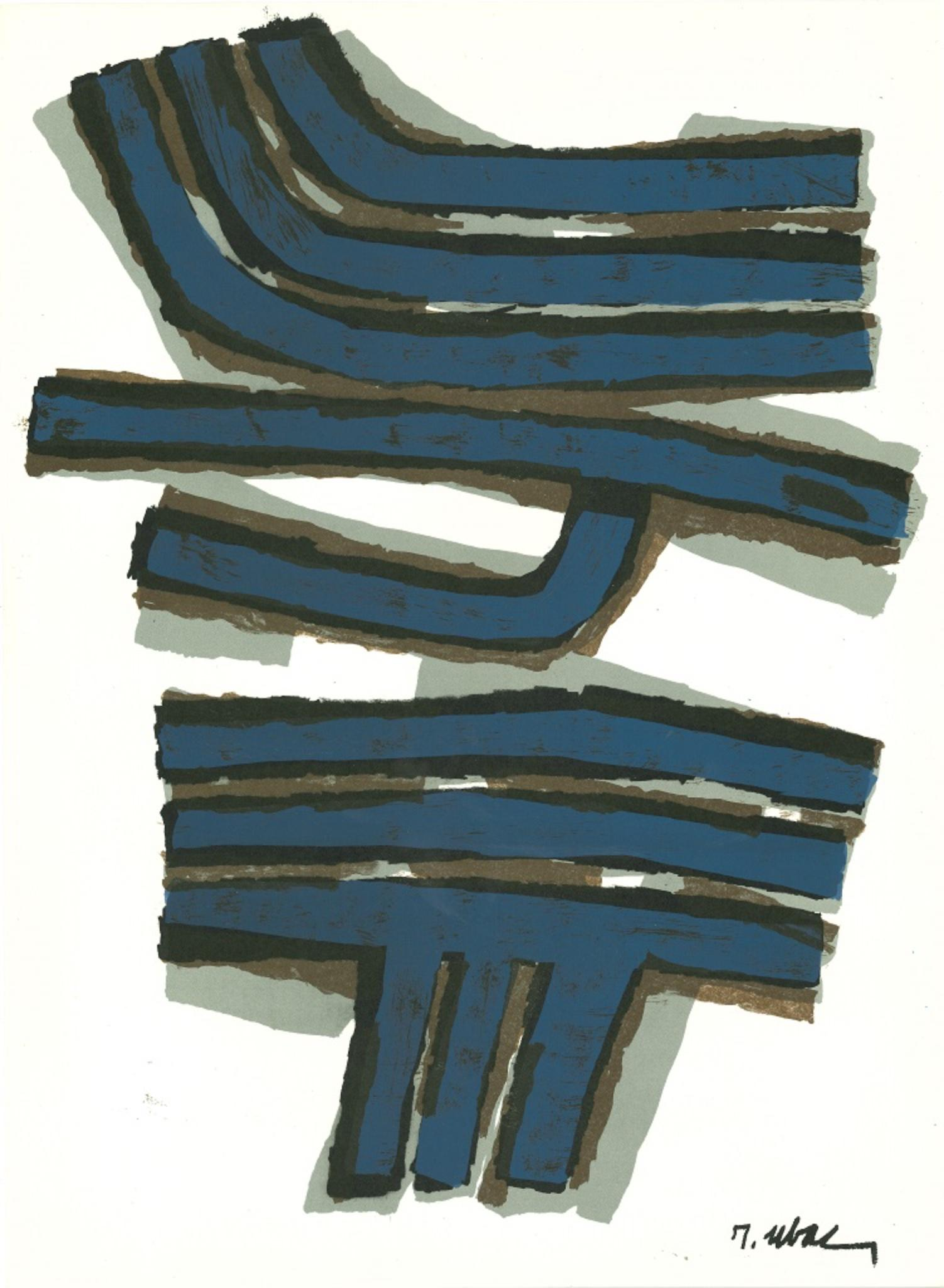 Abstract Composition - Original Lithograph by Raoul Ubac - 1965