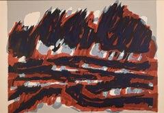 Le Champ Rouge - Original Lithograph by Raoul Ubac - 1964