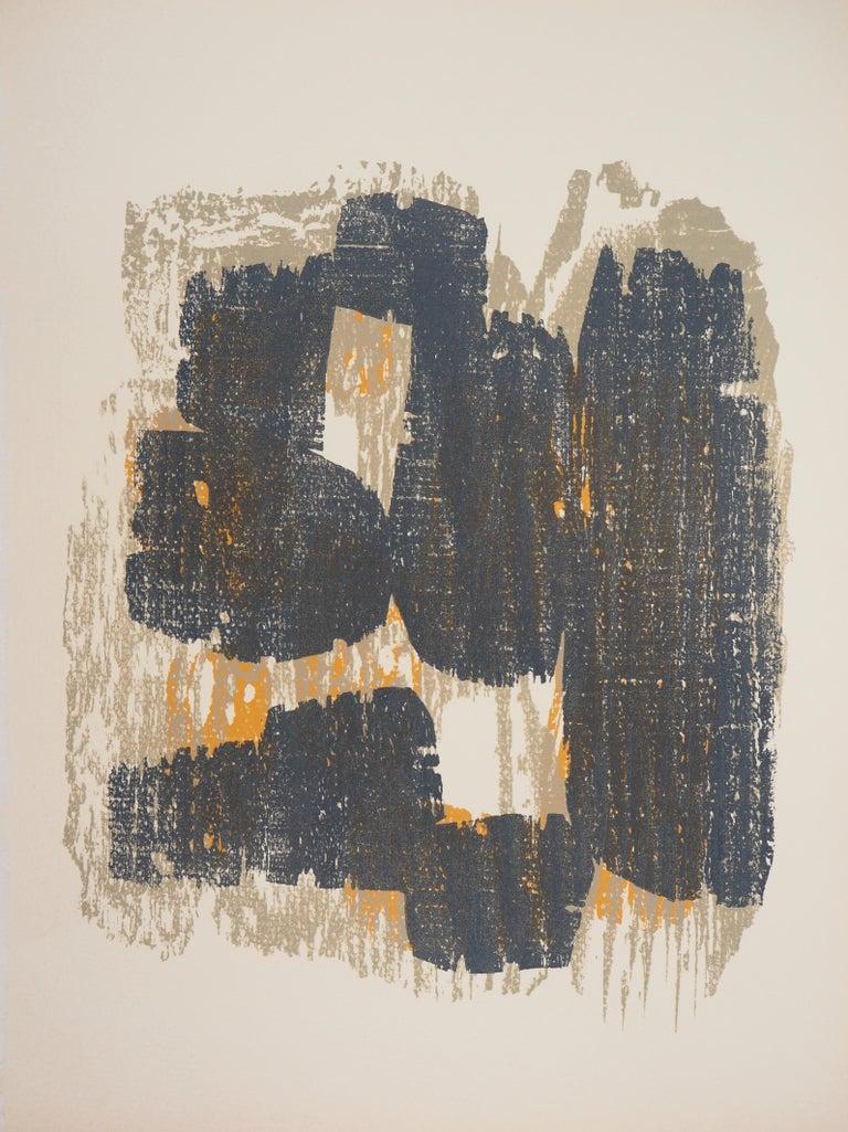 Raoul Ubac Abstract Print - Rythm (Slates) - Original Woodcut Print