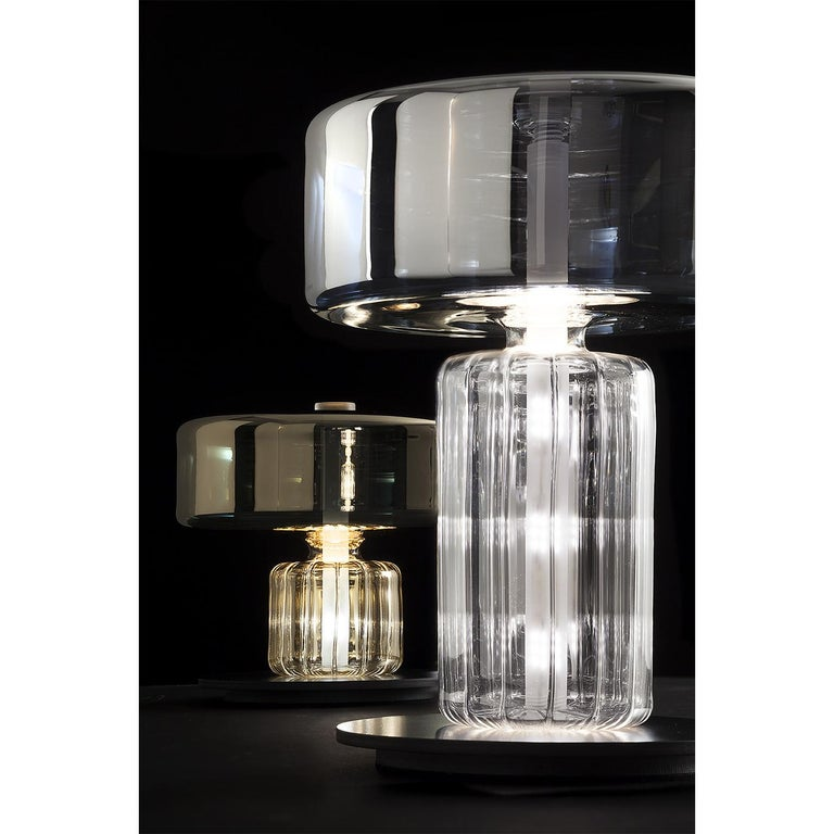 Modern Rapanui Large, Melogranoblu, Table Lamp, Metallized Glass