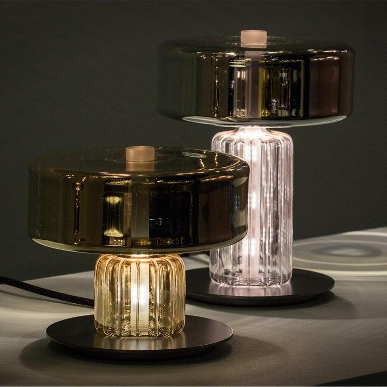 Rapanui Large, Melogranoblu, Table Lamp, Metallized Glass 1