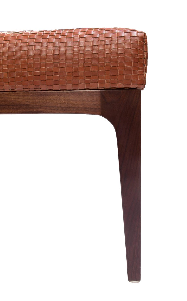 American Raphael Bench with Mid-Century Modern Style Walnut Frame & Basket weave Leather For Sale