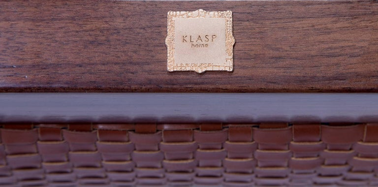 Raphael Bench with Mid-Century Modern Style Walnut Frame & Basket weave Leather In New Condition For Sale In Bronxville, NY