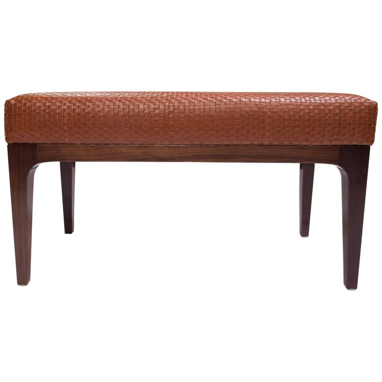 Raphael Bench with Mid-Century Modern Style Walnut Frame & Basket weave Leather For Sale