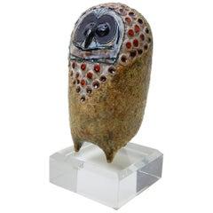 Raphaël Giarrusso Art Pottery Modernist Owl, French, 1967